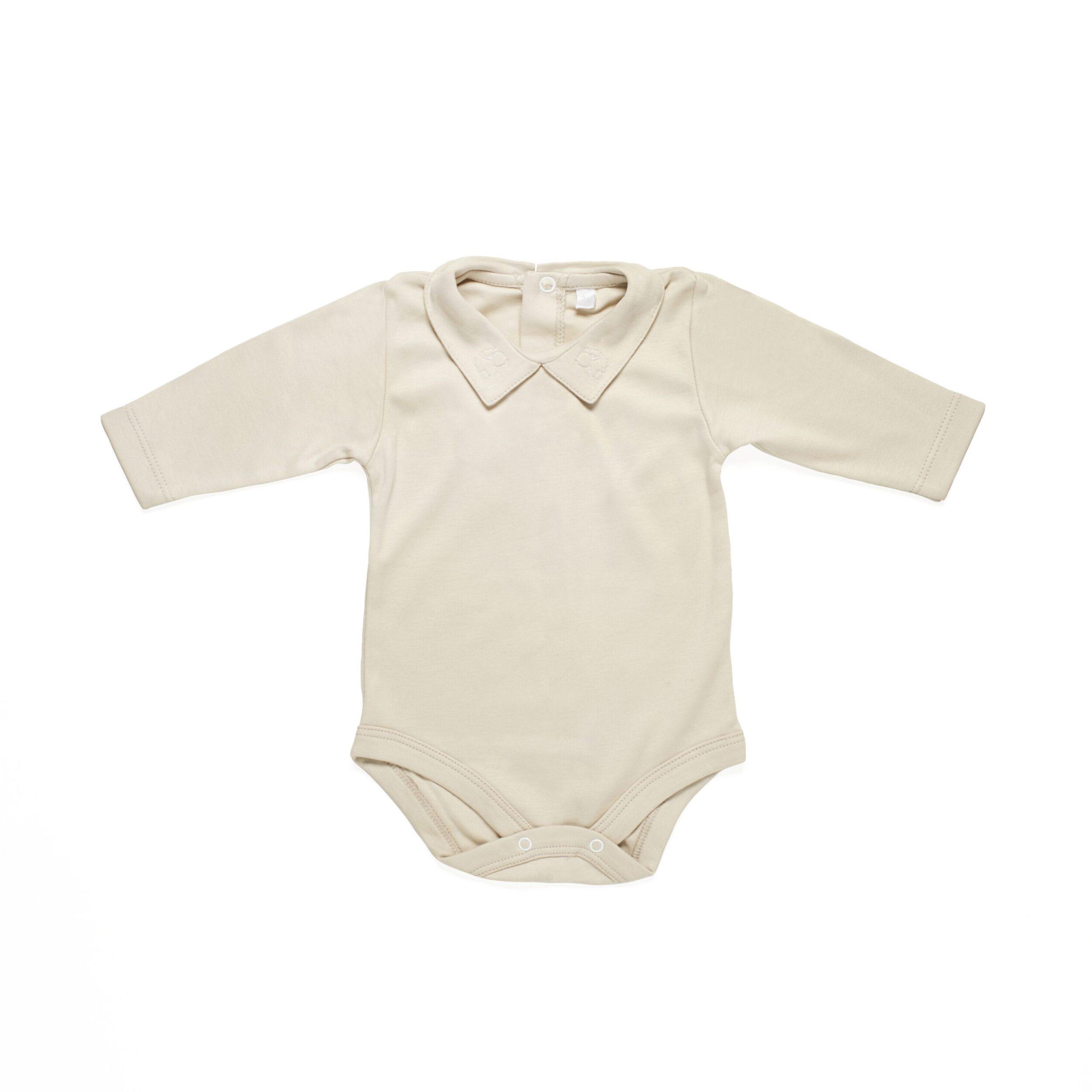 Long sleeve body baby newborn organic pima cotton slowfashion quality sand
