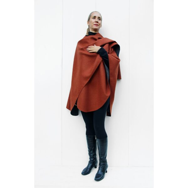 double side double face reversible baby alpaca Cape stola stole ruana grey copper in Perú quality