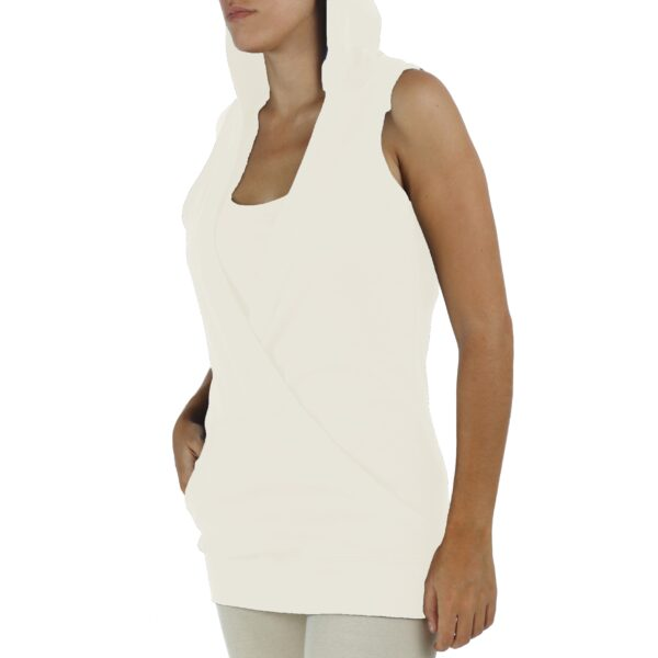 hooded crossed sleeveless top organic pima cotton slowfashion quality sand