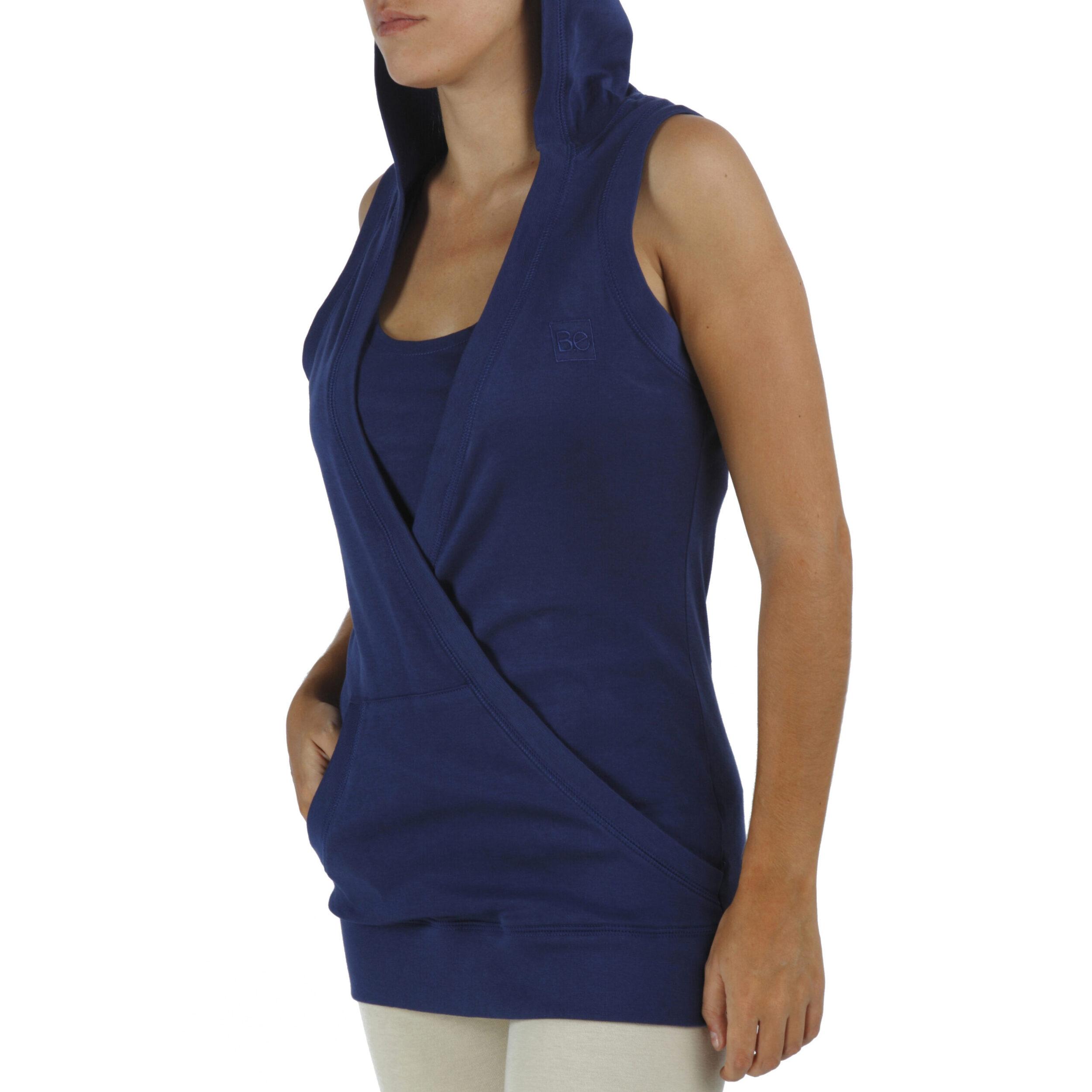 hooded crossed sleeveless toporganic pima cotton slowfashion quality blue