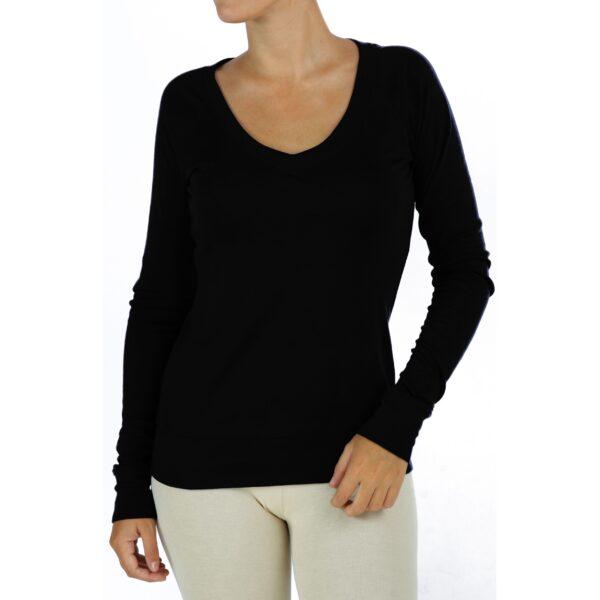 long sleeves V neck top organic pima cotton slowfashion quality black