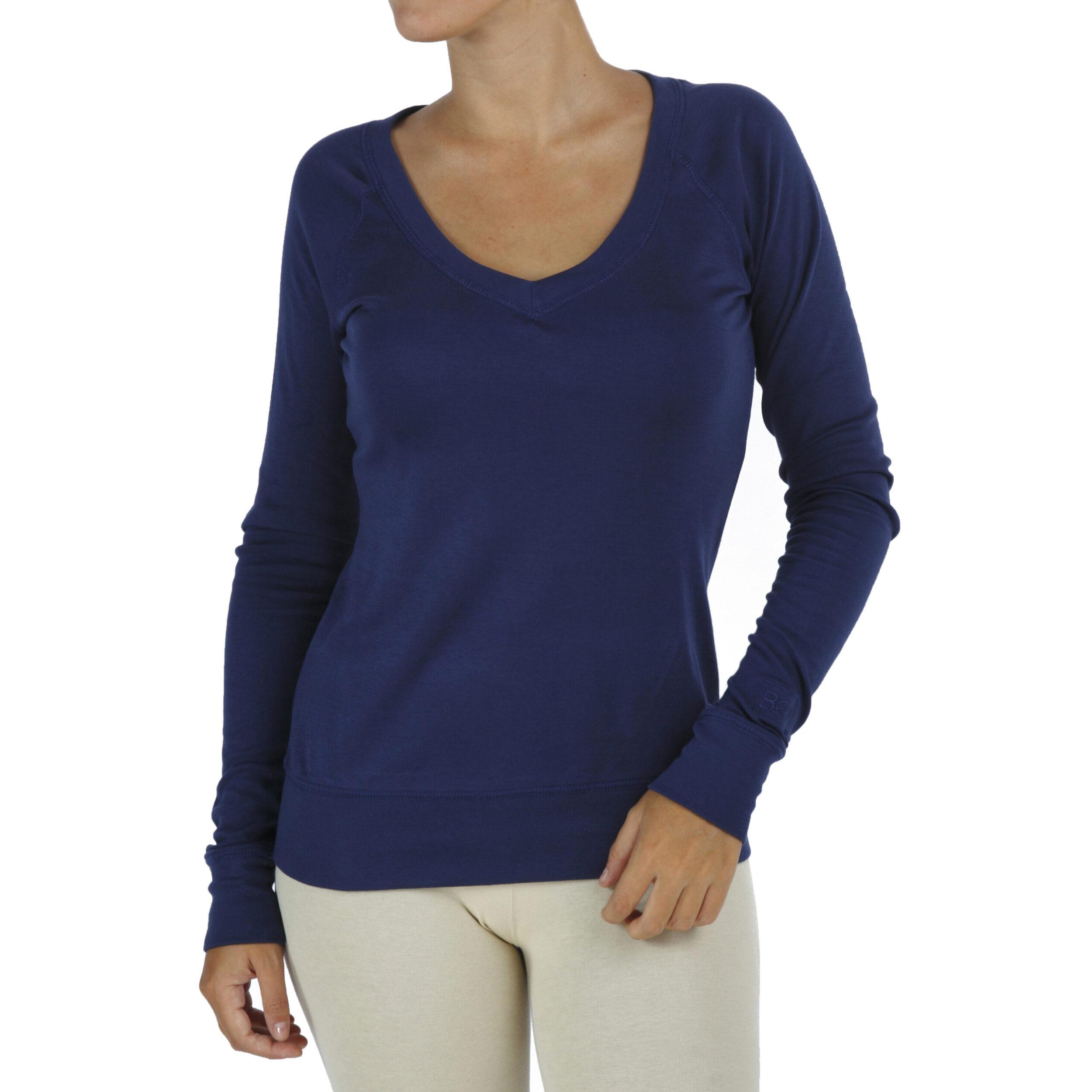 long sleeves V neck top organic pima cotton slowfashion quality blue
