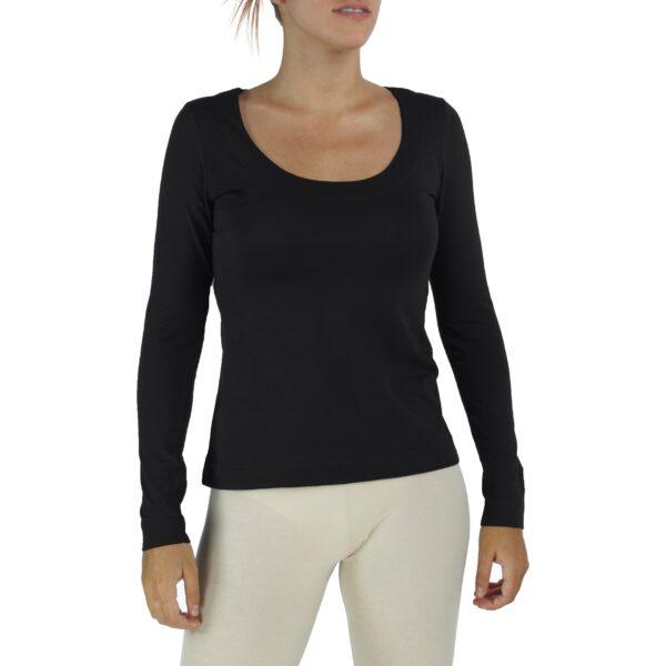 round scoop neck long sleeve top organic pima cotton slowfashion quality black