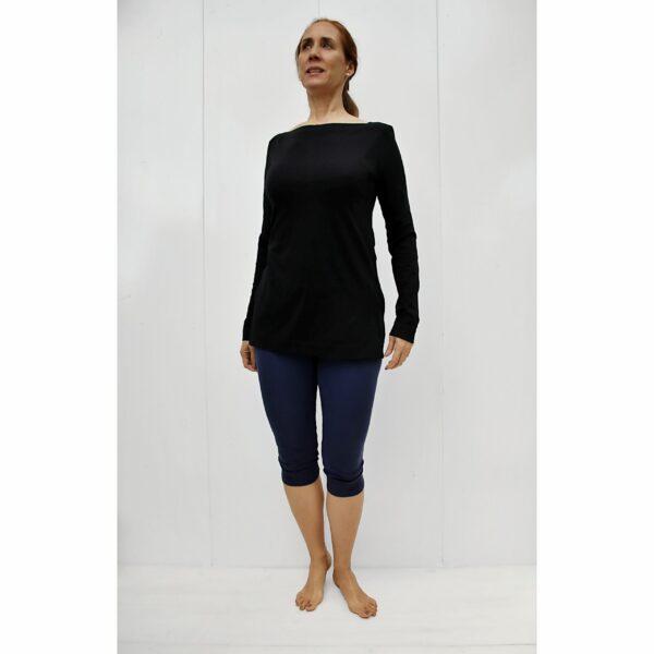 long sleeves boat neck top organic pima cotton slowfashion quality black
