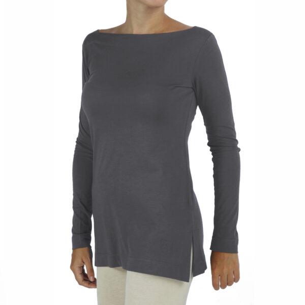 long sleeves boat neck top organic pima cotton slowfashion quality taupe grey