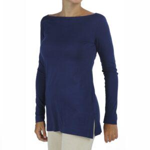 long sleeves boat neck top organic pima cotton slowfashion quality blue