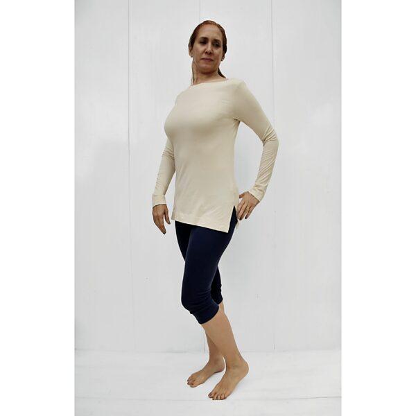 long sleeves boat neck top organic pima cotton slowfashion quality sand