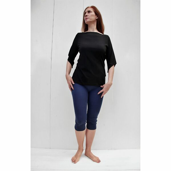 Boat Neck Top, 3/4 Sleeve in Pima Cotton