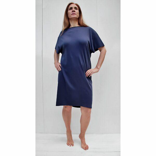 short sleeve dress organic pima cotton slowfashion quality blue