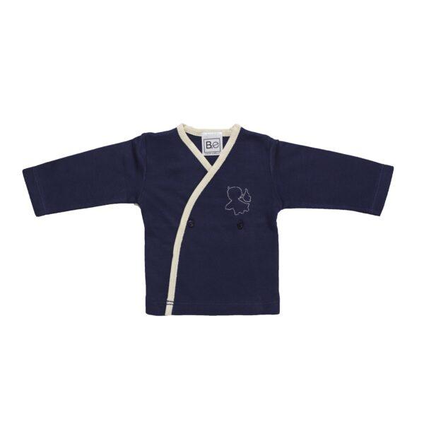 Long sleeve crossed tshirt baby newborn organic pima cotton slowfashion quality blue