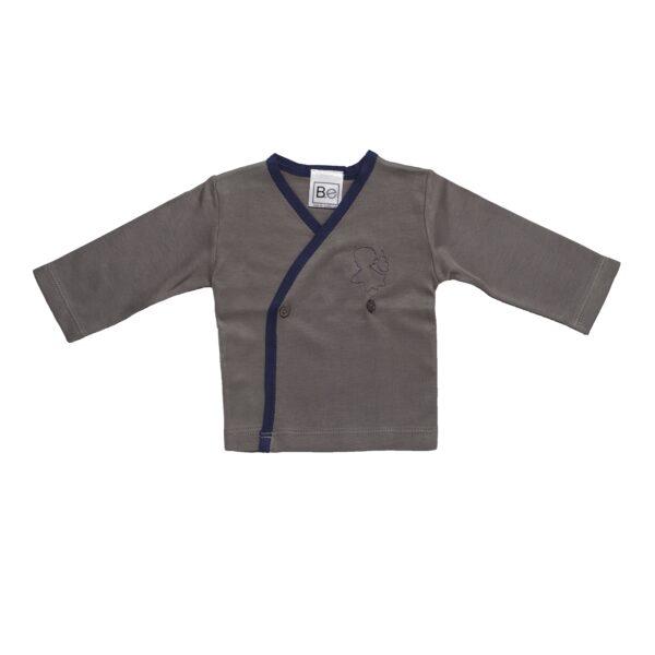 Long sleeve crossed tshirt baby newborn organic pima cotton slowfashion quality grey taupe