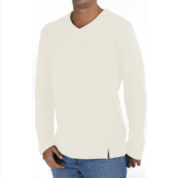 Long Sleeve V neck tshirt men organic pima cotton slowfashion quality sand