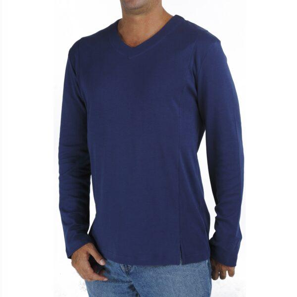 Long Sleeve V neck tshirt men organic pima cotton slowfashion quality blue