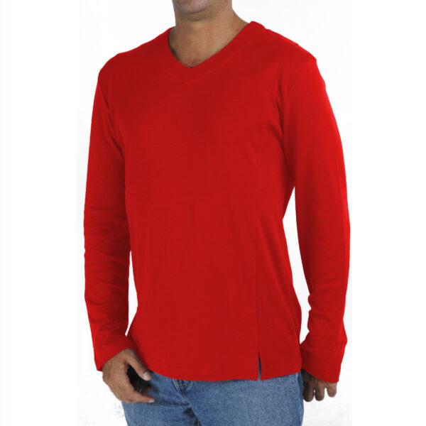 Long Sleeve V neck tshirt men organic pima cotton slowfashion quality red
