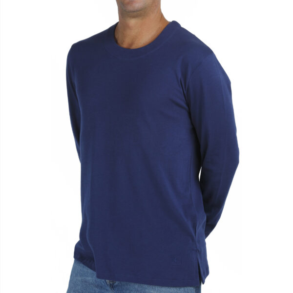 Long Sleeve Crew neck tshirt men organic pima cotton slowfashion quality blue