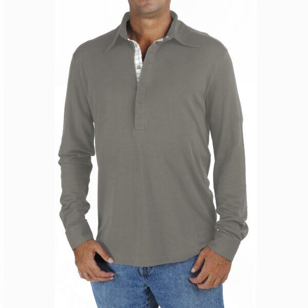 Long Sleeve Polo tshirt men organic pima cotton slowfashion quality grey taupe