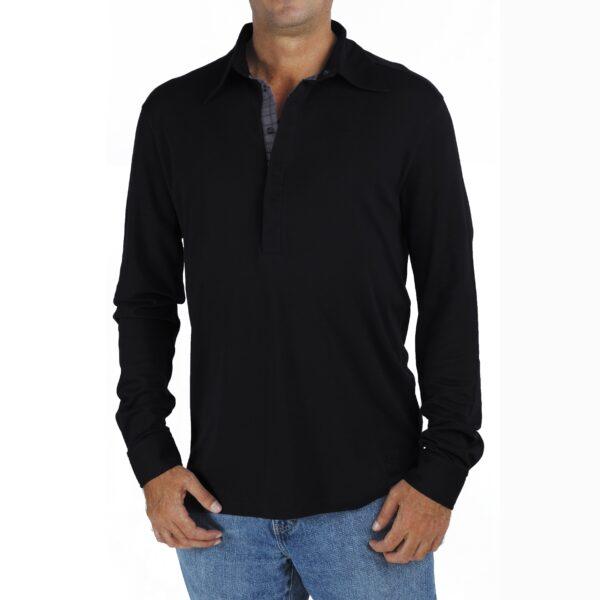 Long Sleeve Polo tshirt men organic pima cotton slowfashion quality Black