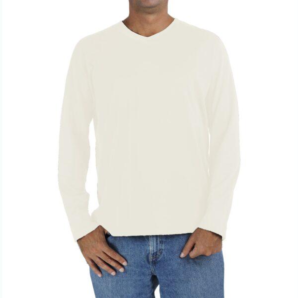 Long Sleeve V neck Raglant tshirt men organic pima cotton slowfashion quality SAND