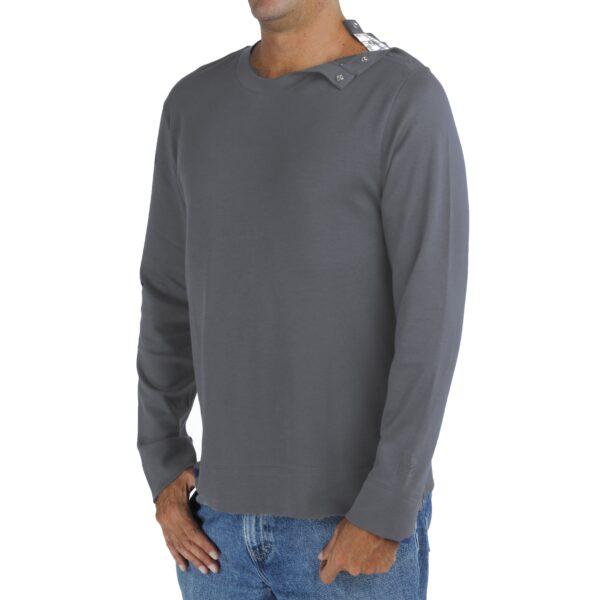 Long Sleeve crew round neck with opening tshirt men organic pima cotton slowfashion quality taupe grey