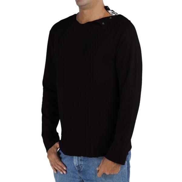 Long Sleeve crew round neck with opening tshirt men organic pima cotton slowfashion quality black