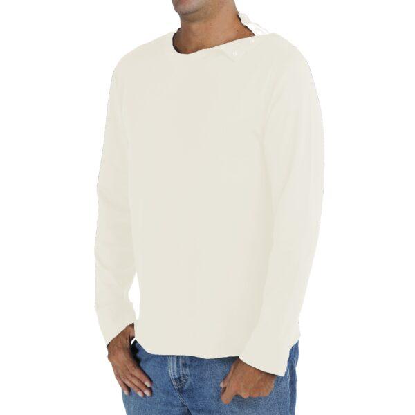 Long Sleeve crew round neck with opening tshirt men organic pima cotton slowfashion quality sand