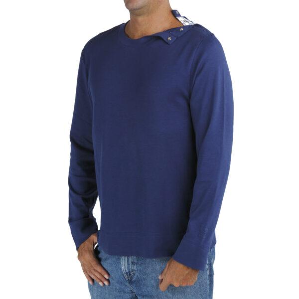Long Sleeve crew round neck with opening tshirt men organic pima cotton slowfashion quality blue