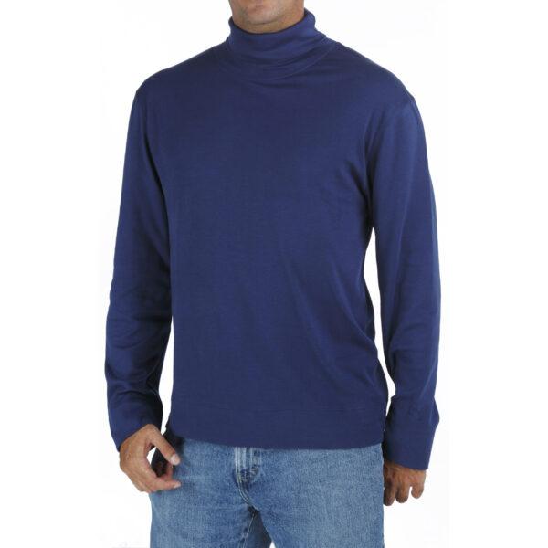 Long Sleeve Turtle neck dolce vita tshirt men organic pima cotton slowfashion quality blue