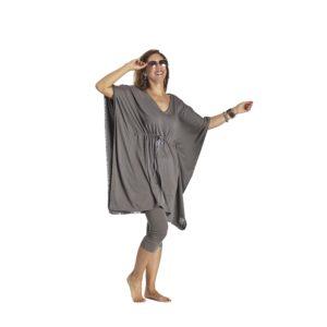 One Size Adjustable Square dress organic pima cotton slowfashion quality taupe grey