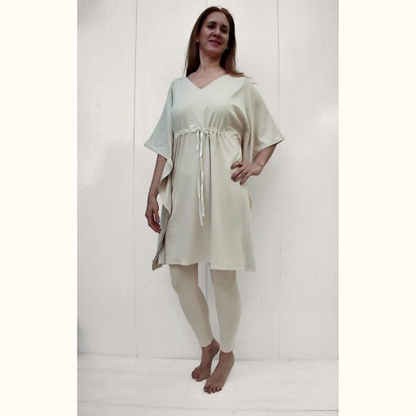 One Size Adjustable Square dress organic pima cotton slowfashion quality sand