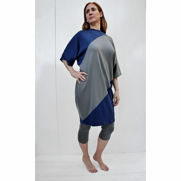One Size short sleeve Maxi dress bicolour organic pima cotton slowfashion quality blue taupe