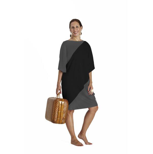 One Size short sleeve Maxi dress bicolour organic pima cotton slowfashion quality black taupe