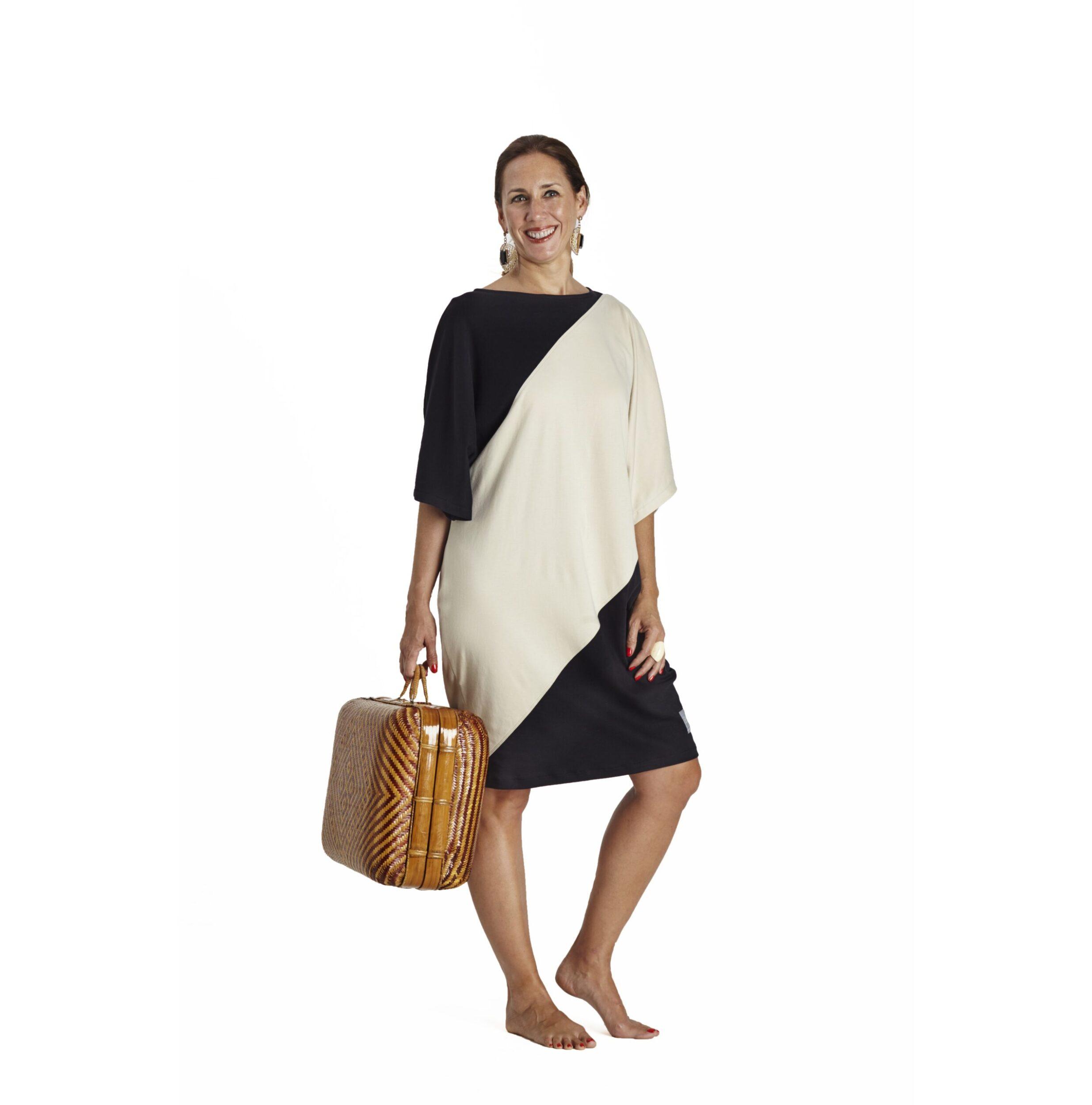 One Size short sleeve Maxi dress bicolour organic pima cotton slowfashion quality black sand