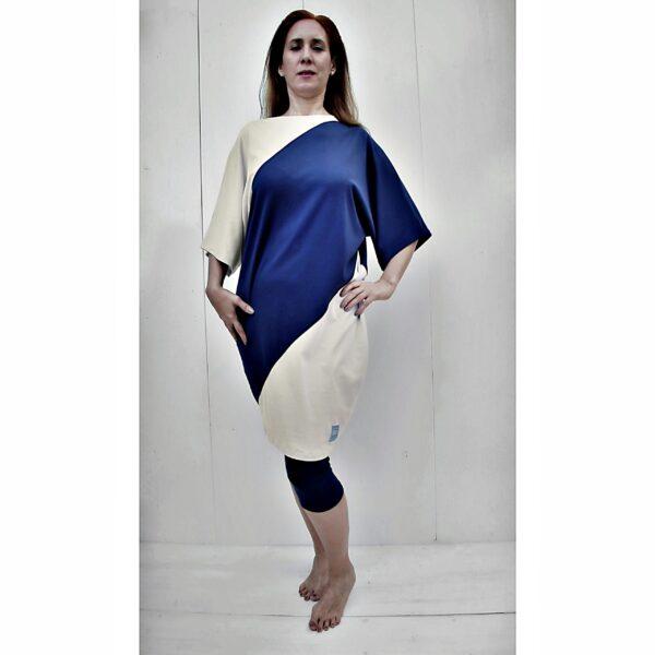 One Size short sleeve Maxi dress bicolour organic pima cotton slowfashion quality sand blue