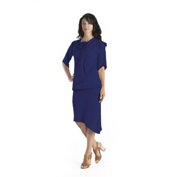 hug boat neck 3/4 sleeve diagonal organic pima cotton slowfashion quality blue