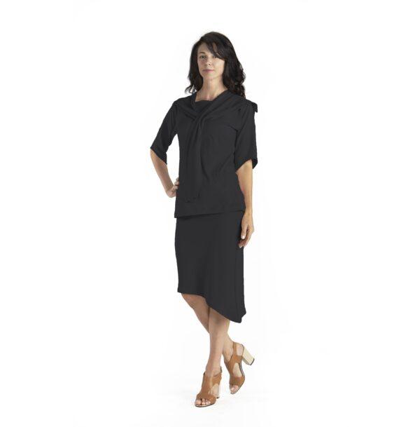 one size skirt top diagonal organic pima cotton slowfashion quality black