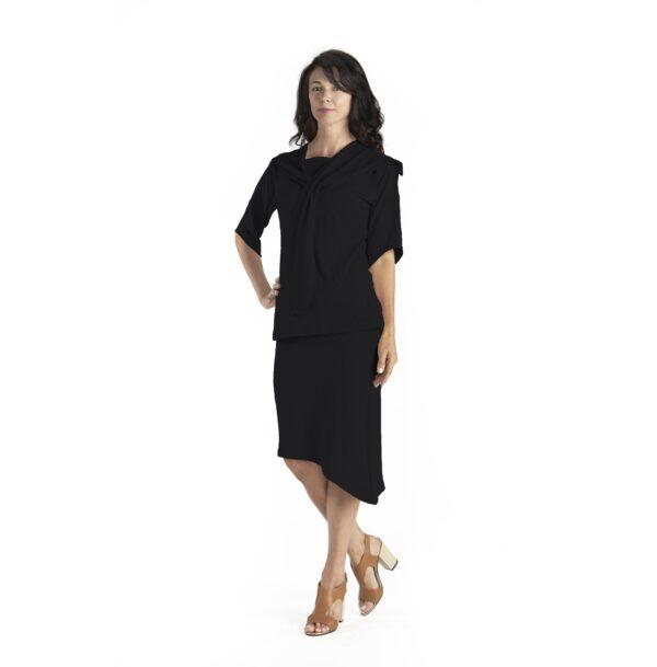 hug boat neck 3/4 sleeve diagonal organic pima cotton slowfashion quality black