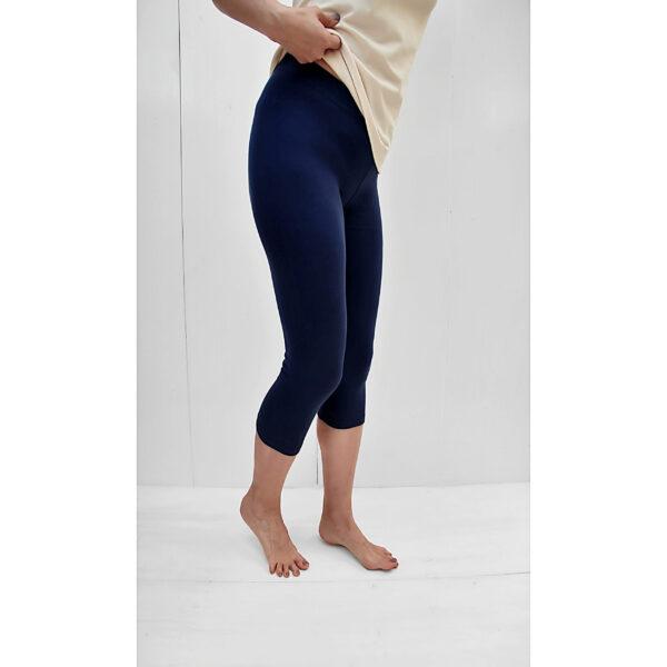 leggins capri blue organic pima cotton slowfashion