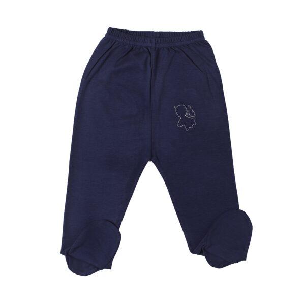 Pant with foot baby newborn organic pima cotton slowfashion quality blue