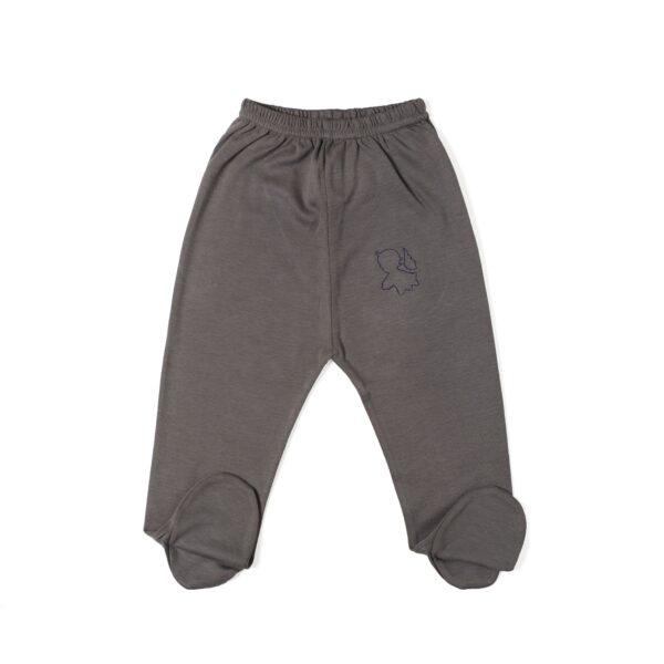 Pant with foot baby newborn organic pima cotton slowfashion quality taupe grey