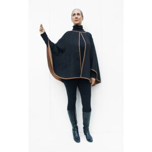 double side double face reversible baby alpaca Poncho Black cammel beige in Perú quality