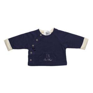 Long sleeve reversible jacket baby newborn organic pima cotton slowfashion quality blue sand