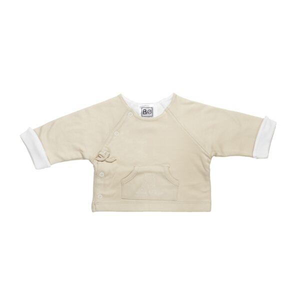 Long sleeve reversible jacket baby newborn organic pima cotton slowfashion quality sand white