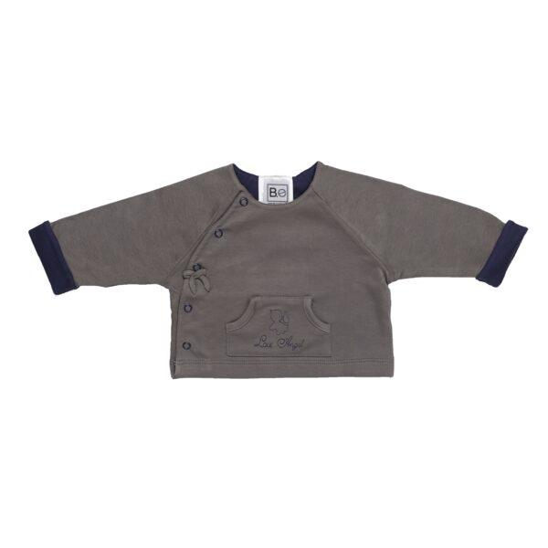 Long sleeve reversible jacket baby newborn organic pima cotton slowfashion quality grey taupe blue