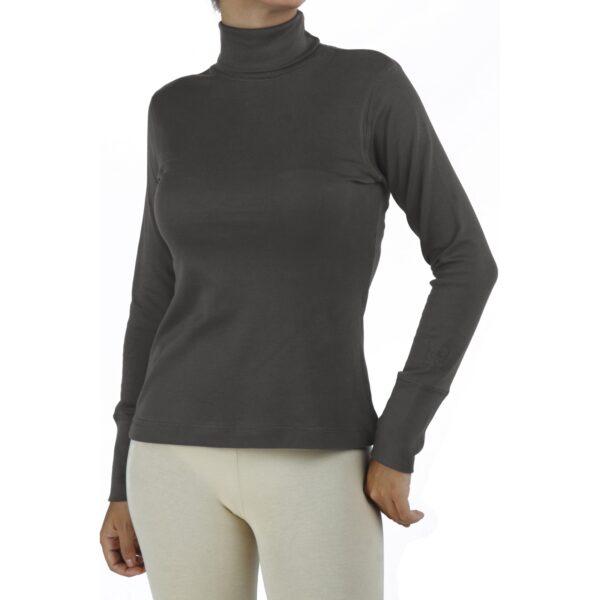 turtle neck long sleeve top organic pima cotton slowfashion quality taupe grey