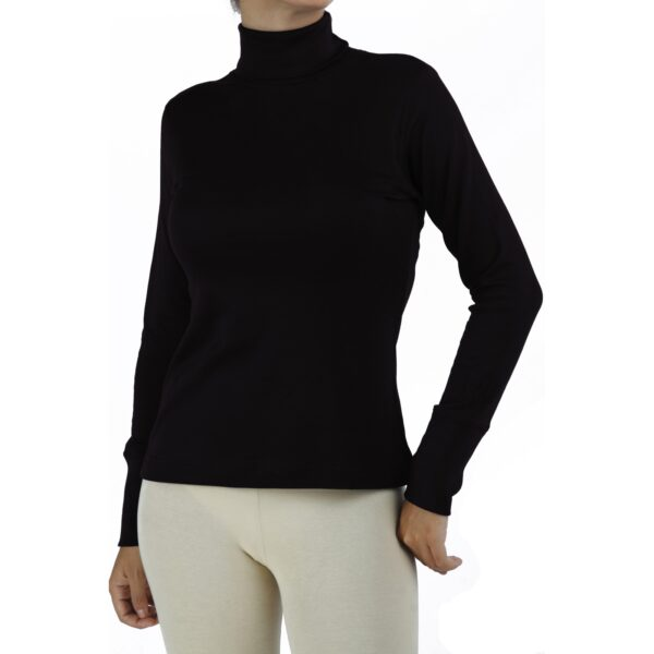 turtle neck long sleeve top organic pima cotton slowfashion quality black
