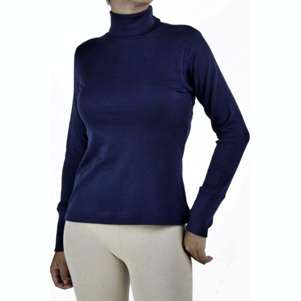 turtle neck long sleeve top organic pima cotton slowfashion quality blue