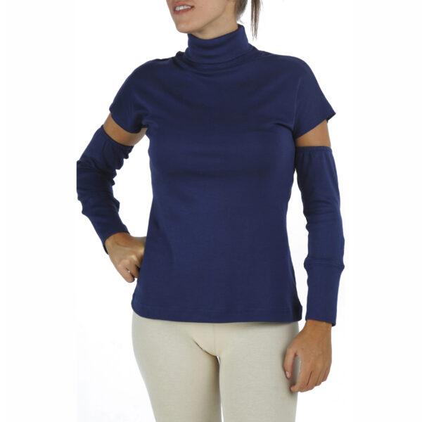 detached sleeves sleeveles turtleneck organic pima cotton slowfashion quality blue
