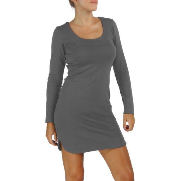long sleeves scoop round neck sheath organic pima cotton slowfashion quality taupe grey