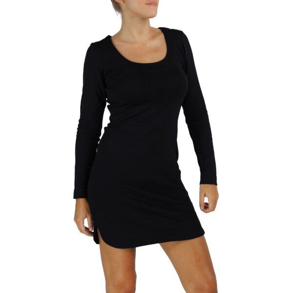 long sleeves scoop round neck sheath organic pima cotton slowfashion quality black