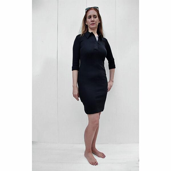 3/4 sleeves polo neck sheath organic pima cotton slowfashion quality black